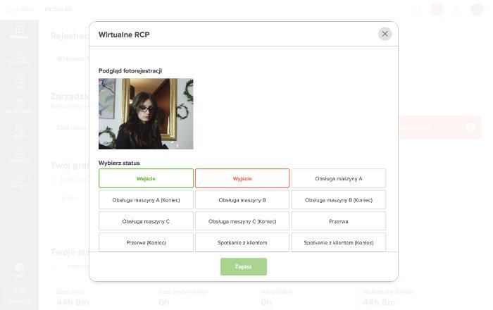 Aplikacja internetowa rejestracja czasu pracy