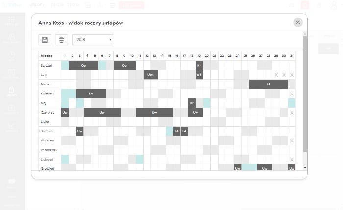Roczny kalendarz urlopów dla pracownika